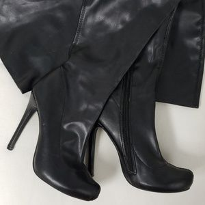 Thigh high pleather boots